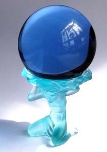 Glaskugel 35mm blau 4 Murmeln Elemente ca grün rot gelb